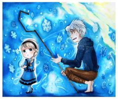 Little Elsa and Jackfrost by Ayuyowsky