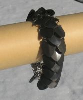 black and steel scale bracelet by DracoLoricatus