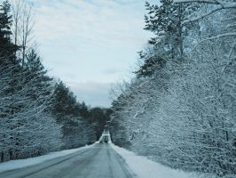 Winter road by PhotoImageMan
