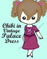Free Adoptable: Chibi in Vintage Palace Dress by IreinicFantasy