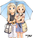 girls with umbrella render by rene29