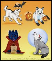 2$ Wolf pup HALLOWEEN ( all taken) by NatsumeWolf