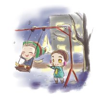 winter Klaine on swings by Kiwa007