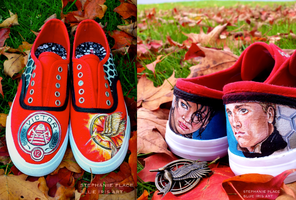 Catching Fire sneakers by BlueIrisArt