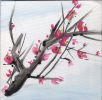 Cherry Blossoms Sumi-e Attempt by Love-ROKKUGO