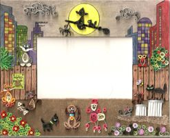 quilling picture frame:night in the city by sombra33