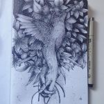 Bird Flowers - Ink by alfredbasha