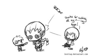 Claymore: Augh, me legs. by Bootleg