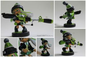 Custom Inkling Amiibo #1 | Lime Green Inkling Girl by PixelCollie