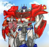 Optimus and Causeway TFP side by side by LadyElita-Arts