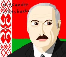 Alexander Lukashenko Drawing on Muro by DragonQuestWes