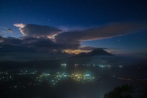 View from Gunung-Batur at night before sunrise by Vitaly-Sokol