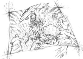 CAP VS Red Skull - Sketch (A5 size) by darnof
