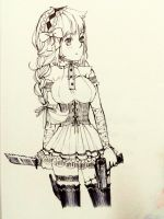 Sketch - Girl with a gun and knife. by NuSinE