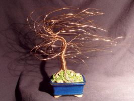 GOLD WIND SWEPT - Mini Wire Tree Sculpture by SalVillano