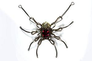 Steampunk Spider Sculpture with red Jewel by CatherinetteRings