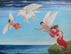 Cupid, Pegasus, Eros and Psyche - Flying