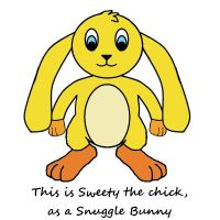 Sweety the chick-  as a Snuggle Bunny by SchnuffelKuschel