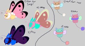 Bunnerfly and Dragster free adoptables set 1 SOLD by Feendra13