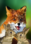 Fox and rabbits by elviraNL