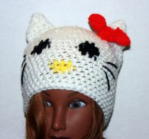 White hello kitty inspired hat by LilithsSmile