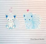 Chibi Alolan Vulpix/Ninetails Stickers and Magnets by pixelboundstudios