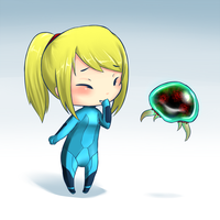 Samus Aran and Baby Metroid by jecca-zn