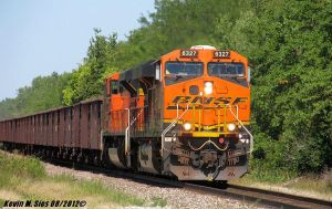 BNSF 6327 and BNSF 9265 lead taconite ore train by EternalFlame1891