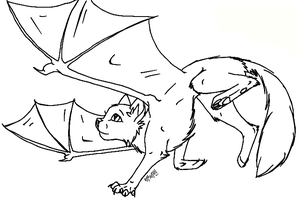Demon winged cat free lineart by LuvlyMystery
