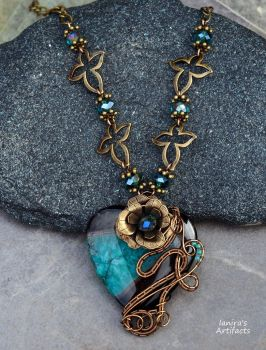 Druzy Agate heart wire wrapped necklace by IanirasArtifacts