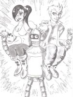 Fry Leela and Bender sketch by coldangel1