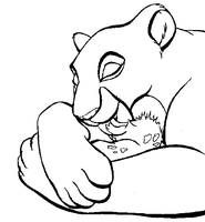 Lioness and cub Lineart by KittengLovergin