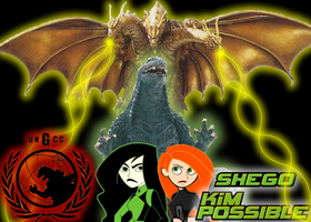 kim ,Shego ,GODZILLA vs K.G by mayozilla