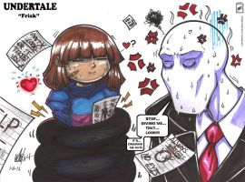 Frisk and Slenderman _ Cute moment_ :3 by wsache2020