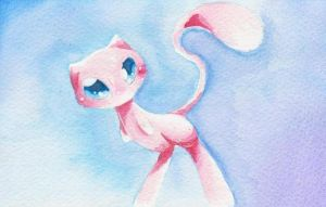Pokemon water color Mew by hope30789