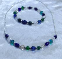 Blue Green and Crystal Necklace and Bracelet set by Alicat59
