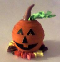 3d miniture pumpkin with leaves by staceysmile