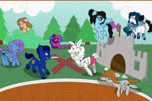 Ponies doing a play YCH complete by TwitterShy