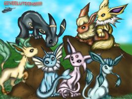 Eeveelutions Colored by The-Bluetip
