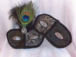 Black and Silver Masquerade Masks by DaraGallery