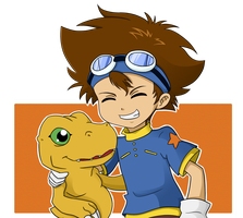 Tai and Agumon by ChibiTigre