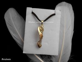 'Golden dragon' handmade brass pendant by seralune