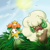 Lilligant and Whimsicott by Freiha
