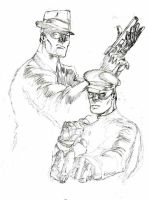 Green Hornet and Kato rough by KirqArts
