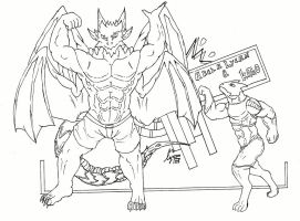 Akela Lycan and Kitro Nayatui showing his muscles by AkelaLycan