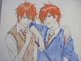 Fred and George Weasley by CaptainHanabusa
