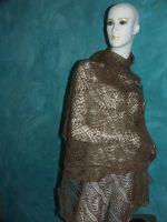 gold brown merinos shawl by basia-hs