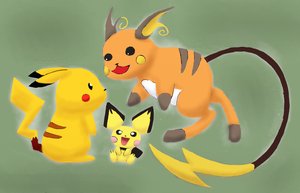 Pichu, Pikachu, and Raichu by Nawmii