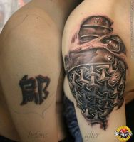 skin torn showing chain mail tattoo by bengkel168