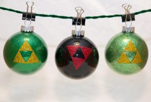 Triforce Glitter Ornaments by cutekick